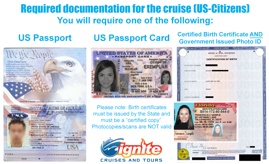 Required Documentation for US Citizens. You will require one of the following: Passport, Passport Card, or Certified Birth Certificate AND Government issued Photo ID